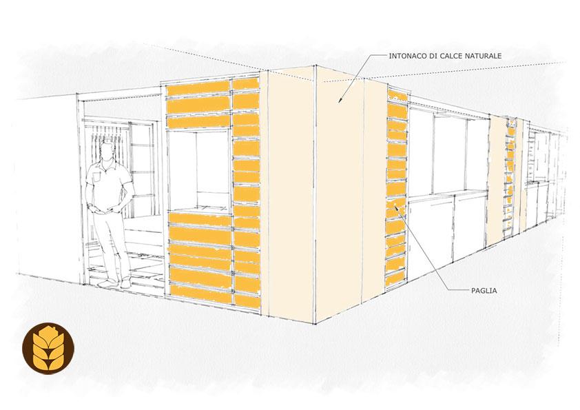 Progetto della casa in paglia; dettaglio degli intonaci in calce e paglia avista.